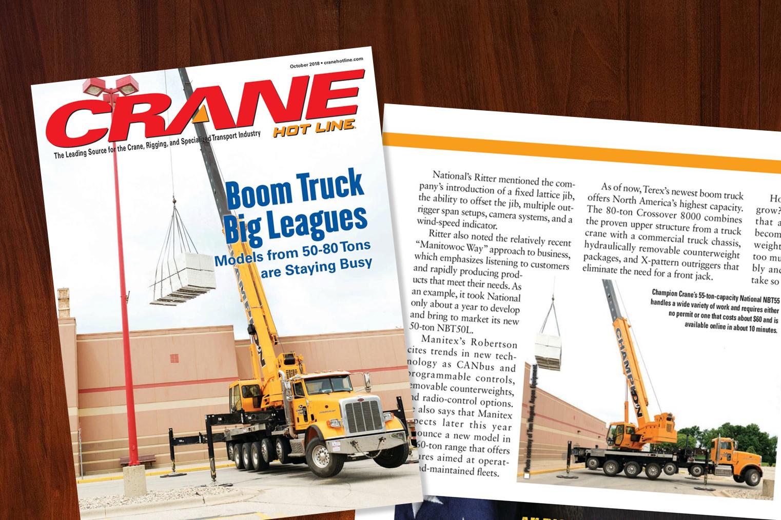 Crane Hotline features Aspen Equipment & Manitowoc Cranes on cover