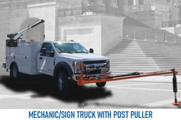 mechanics sign truck with post puller