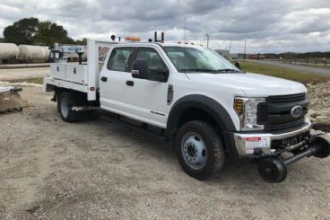Ford F-550 small section railroad track maintenance hi-rail vehicle