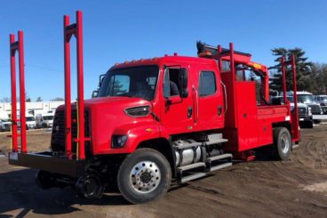 Freightliner 108SD, Palfinger PK 8.501SLD 12,570 lbs capacity, 24 ft reach, 14 ft section body with storage and railracks, 5/10 GPM hydraulic tool circuit, DMF Hi-rail, strobe and spotlight package