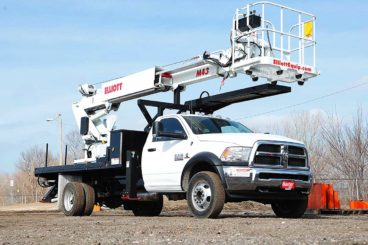 Elliott 43 ft material handling aerial on 19,000 GVWR chassis