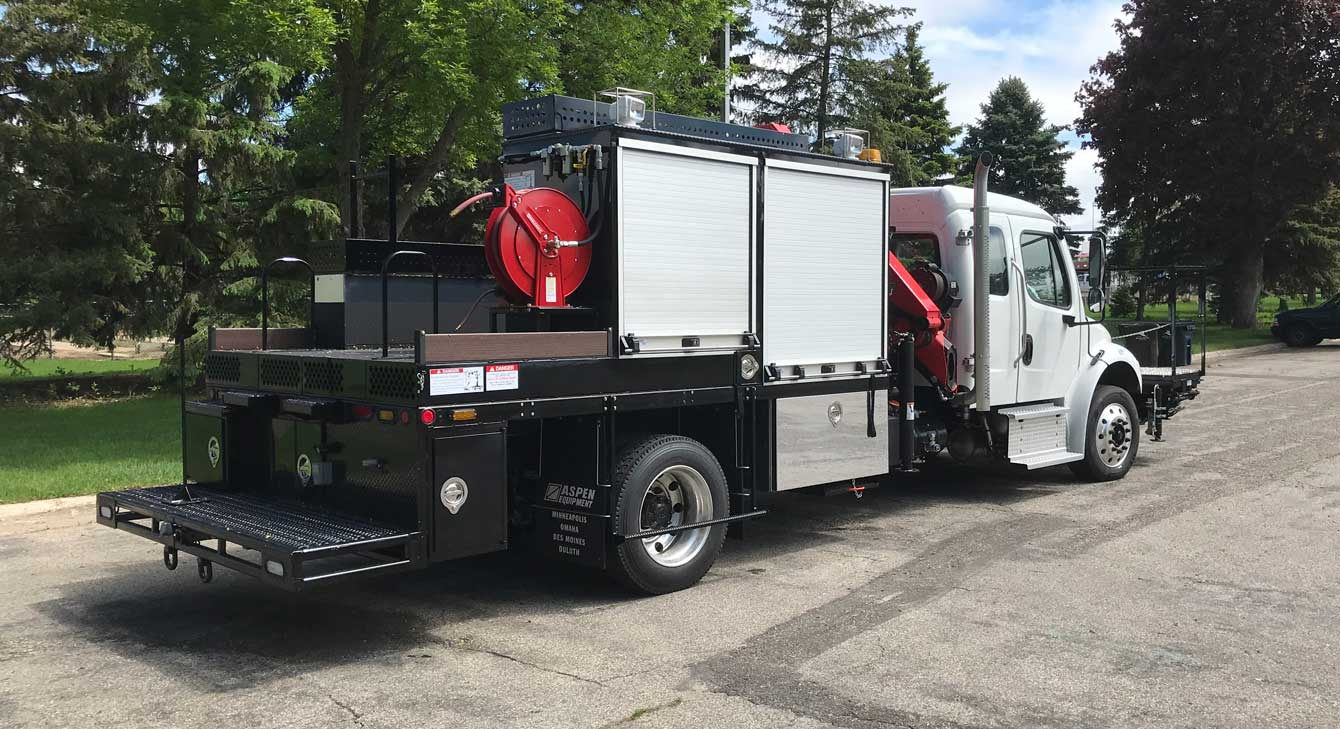Sign Trucks for Sale: Sign truck with custom body, Palfinger articulating crane, catwalk, and accessories