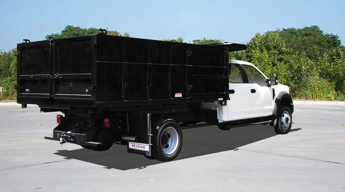 Reading 12 ft dumping landscaper body with cab shield, tarp and side access pallet door