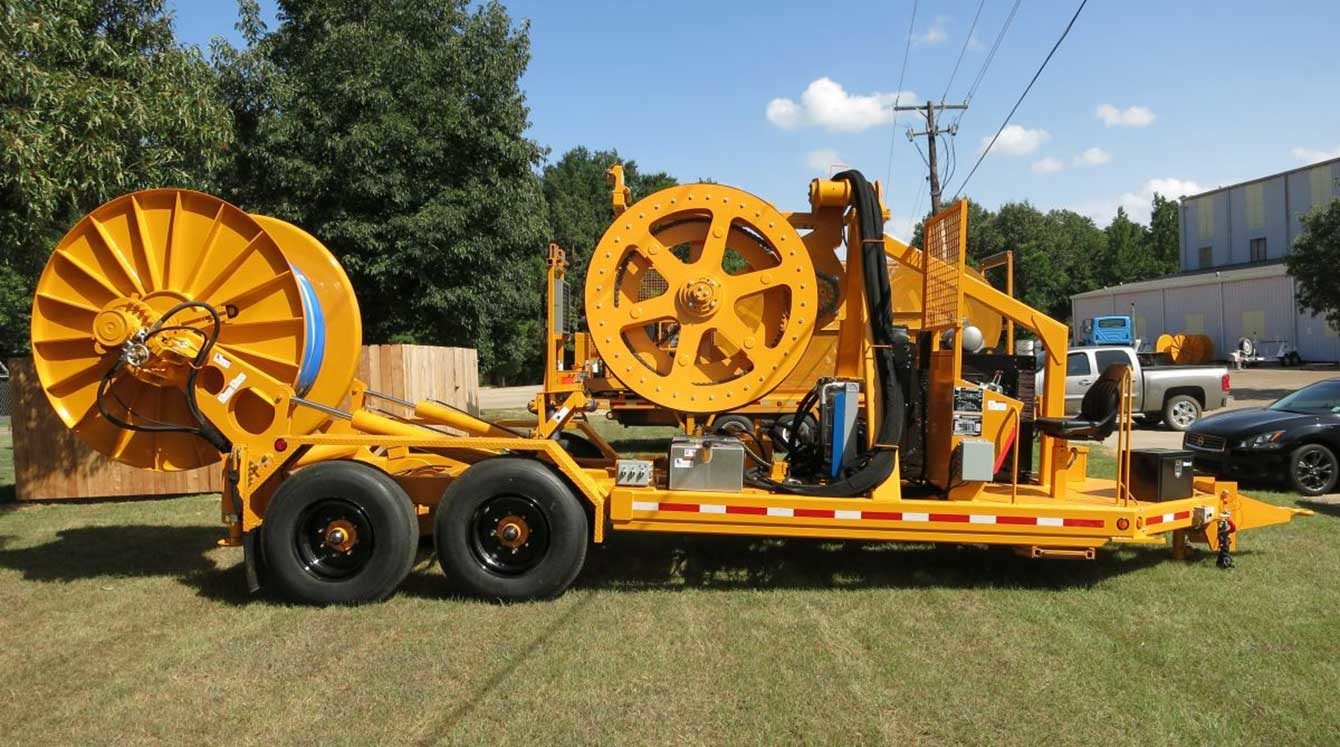 TSE PVT100-72 cable puller/tensioner trailer with 10,000 lbs of continuous line-pull