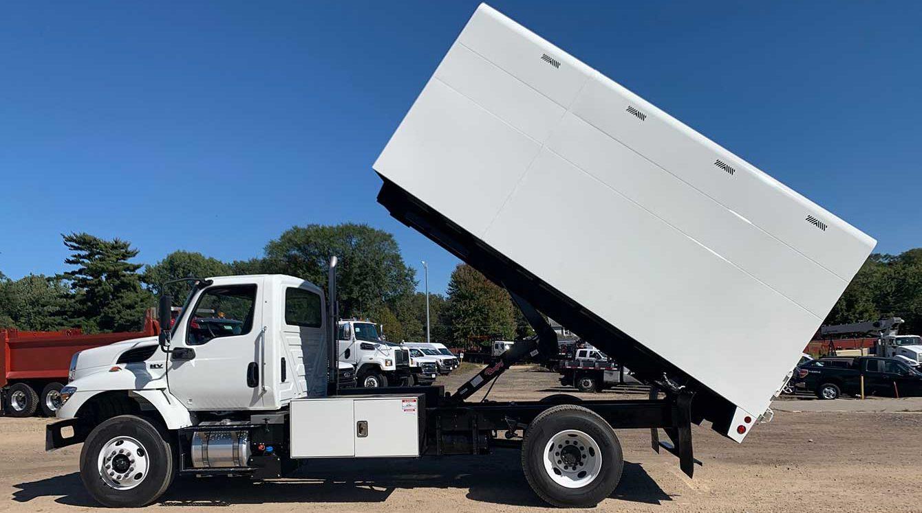 ArborTech 14 ft flat bottom chipper truck body box with underbody tool box