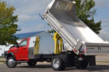 Scott Tafco HD aluminum dumping contractor landscape truck body with I-Pack tool storage
