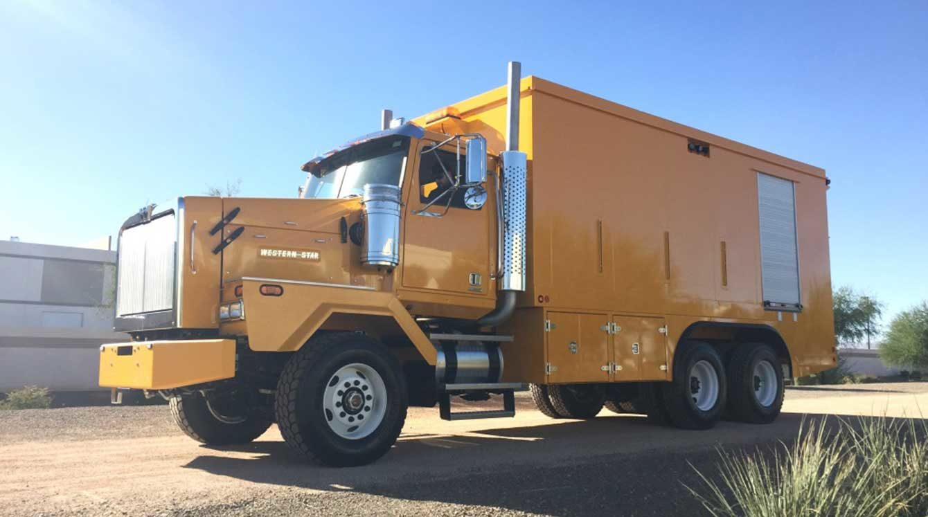 Custom enclosed lube and fuel body installed on severe-duty Western Star chassis