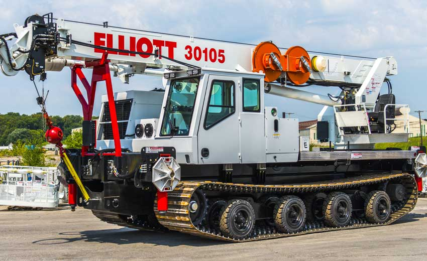 Elliott D105 digger derrick, 25 ton capacity, 107 ft sheave height