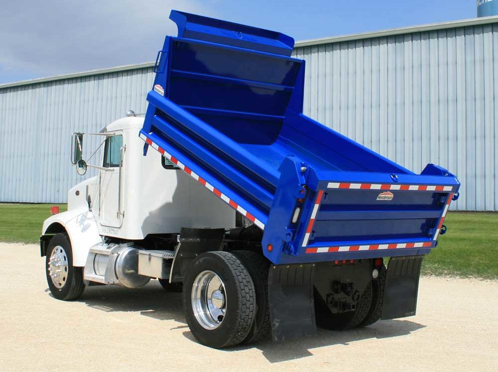 Henderson mild steel MKE series dump truck body on single axle chassis