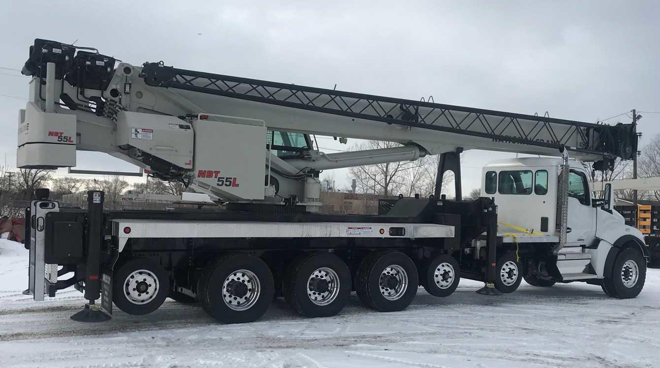 National NBT55L 55 ton boom truck with 151 ft main boom and 36 ft lattice jib