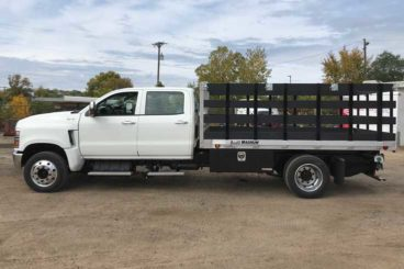 One of Aspen's HD aluminum flatbed bodies with composite stake sides