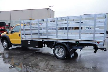 HD aluminum flatbed with aluminum stake sides