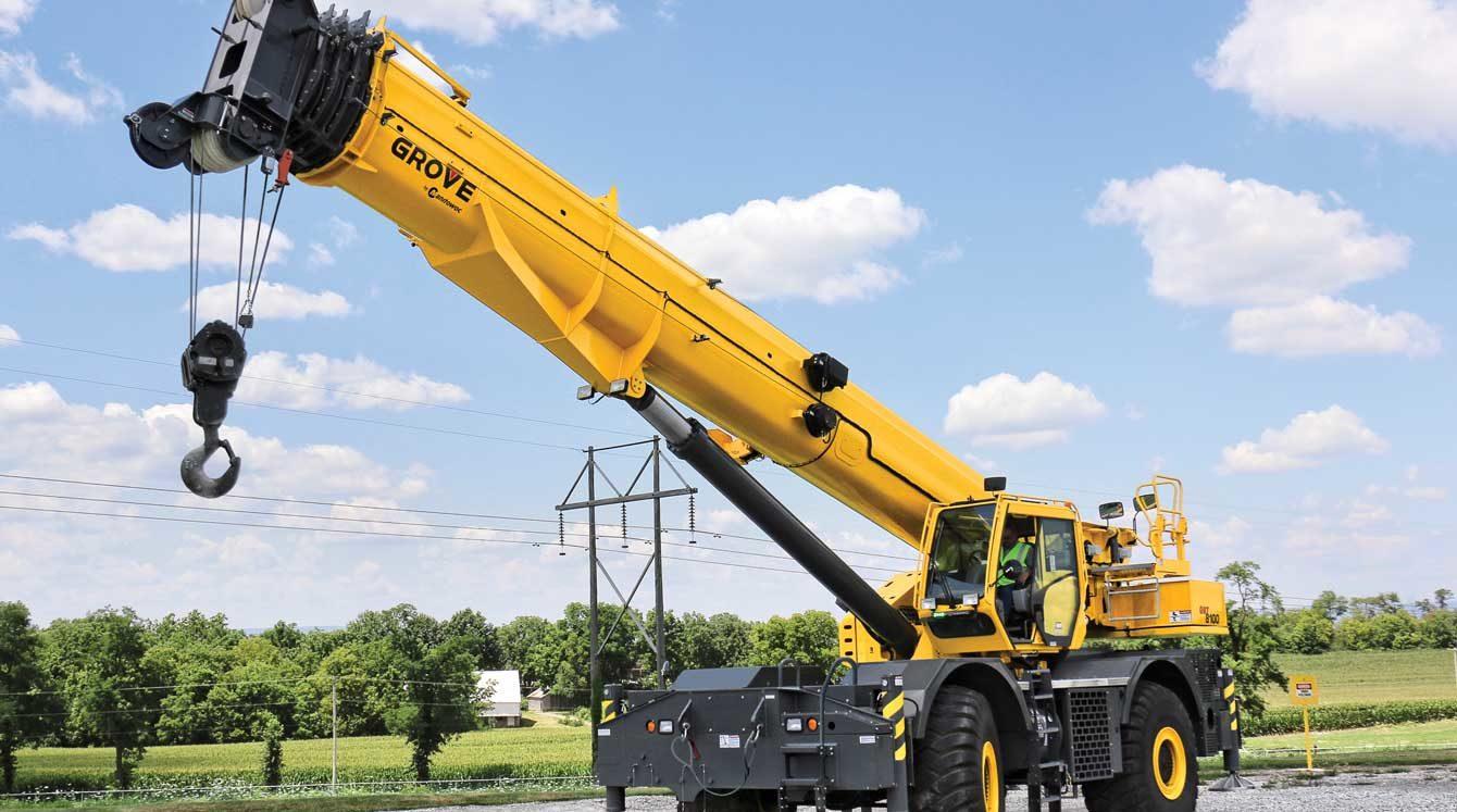 Grove GRT8100 100 ton rough-terrain heavy equipment crane with 154.3 ft hydraulic main boom