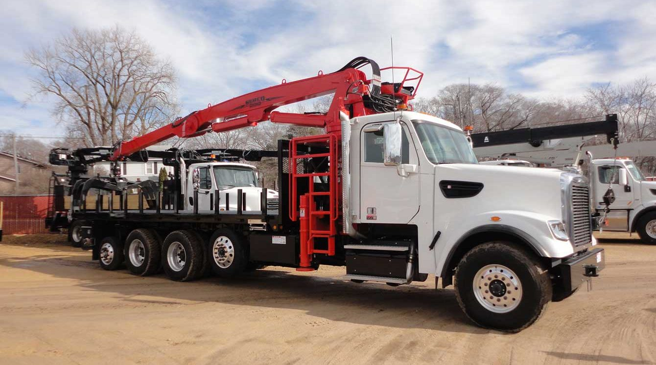 Serco 230B 23,000 lb capacity material grapple loader for sale with 24 ft bed and butt grapple