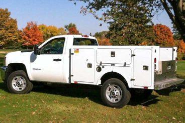 BrandFX fiberglass service body with aluminum understructure and bumper
