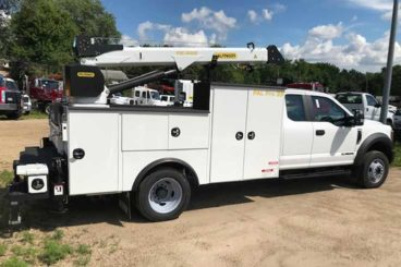 Palfinger PAL Pro model 39, 11 ft service body with 6,000 lb capacity service crane and workbench bumper