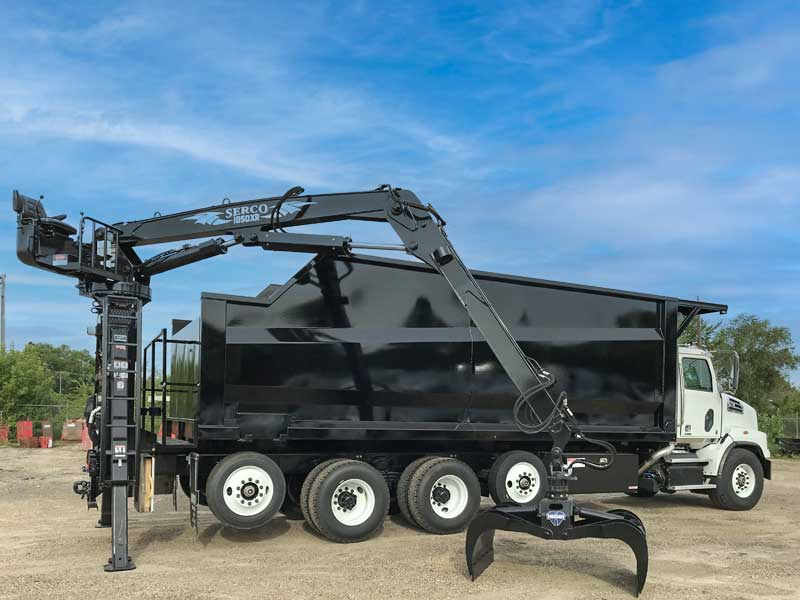 24 ft Bibeau non-dumping forestry truck body, Serco grapple, Hardox steel construction with optional vertical posts